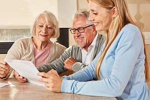 Older couple working on retirement planning
