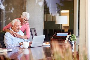 Retirees checking their financial planning assets
