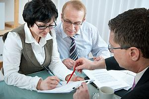 Wealth advisor working with clients