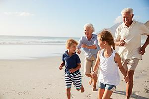 Retired couple with family