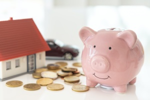 piggy bank with money working on savings