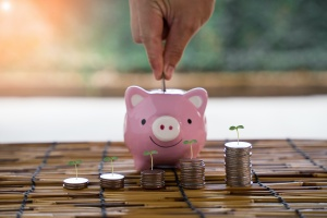 piggy bank with money for growing Financial planning tips